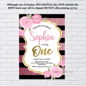 Rose birthday invitation, glitter floral invite, birthday , any age , little girl trun one, 1st birthday , 2nd, 3rd, 4th, 5th  - card 1234