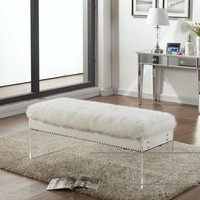Jenny White Plush Fur Bench With Silver Nailheads
