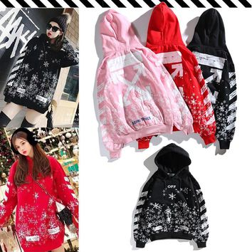 2018 autumn and winter OW OFF WHITE new starry snowflake printing arrow plus velvet thick warm hoodie