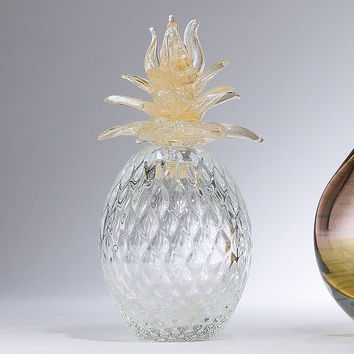 Global Views Murano Glass Pineapple w/Gold Leaves - Global Views 3070