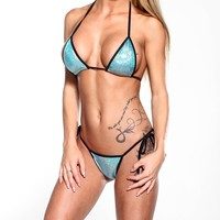 Scrunch Butt Two Piece - Holographic Green - Black