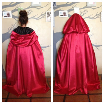Custom Reversible Cloak/Cape. Black&Red poly-satin. Child. Halloween-Costume, Red Riding Hood, Dracula/Vampire, Renaissance/Gothic/Medieval,