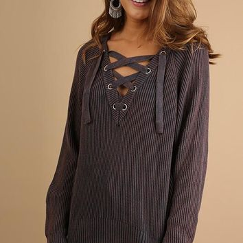 Denim V-neck Drawstring Sweater