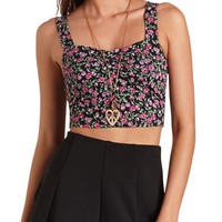 RUCHED SWEETHEART FLORAL PRINT CROP TOP