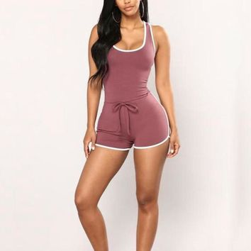 Casual Women Sleeveless Bodycon Romper Jumpsuit Club Bodysuit Short Pants New Summer Slim Striped Skinny Stretch Clothes
