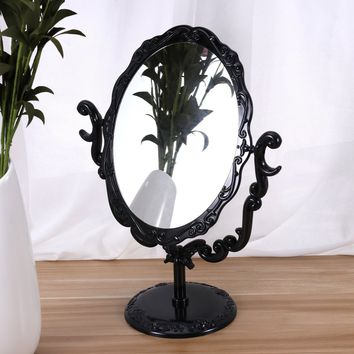 Desktop Table Rotatable Gothic Vintage Comestic Makeup Mirror Rose Butterfly One Side Mirror(Black)