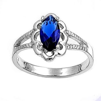 Sterling Silver Filigree Marquise CZ Sapphire 11MM CZ Petite Rings