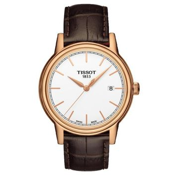 Men's Tissot Carson Quartz Brown Leather Strap Watch