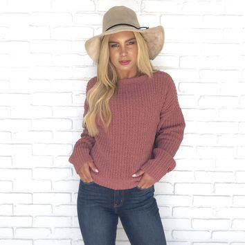 Let's Get Cozy Knit Sweater in Mauve