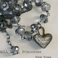 The Devotion Necklace - Vintage Glass, Handmade Ephemera Heart, Oxidized Sterling Silver