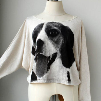 Dog sweatshirt , Dog sweater , Dog Screenprinted  Pullover Oversize style Shirt Bat Style Half Body In Cream Long Sleeve.