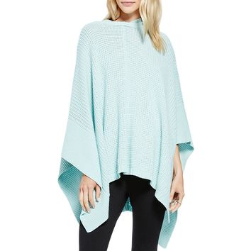 Two by Vince Camuto Womens Hooded Waffle Knit Poncho
