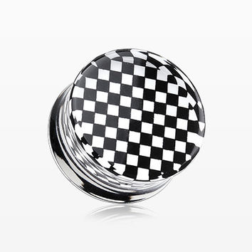 A Pair of Classic Checker Inlay Double Flared Ear Gauge Plug