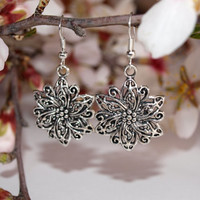 Silver earrings Flower dangle earrings Charms jewelry Round earrings Gift for girlfriend For her Everyday jewelry Floral earrings