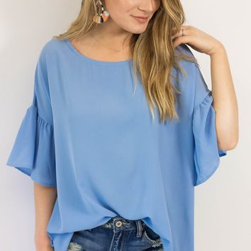 Vacation Mode Bell Sleeve Top- Sky Blue