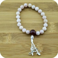 Morganite Mala Bracelet with Strawberry Quartz
