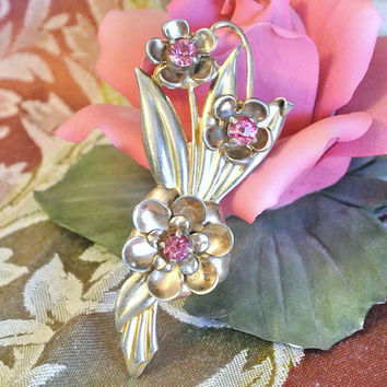 1940s 40s Rhinestone Brooch Sterling Silver Vermeil Gold Antique Brooch Pin Bouquet Flowers Floral WW II Era Fashion Jewelry Pink
