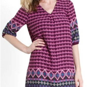 Everly Clothing Glass House Border Print Shift Dress DR4862
