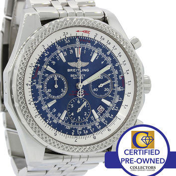Limited Breitling Bentley Chronograph Blue Steel A25362 48mm Chrono Date Watch