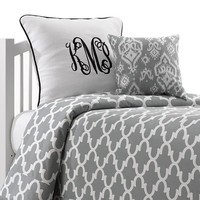 Cool Grey Quatrefoil Dorm Bedding