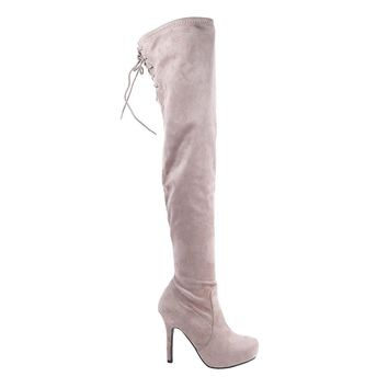 Women's Sexy Pink Faux Suede Over The Knee Platform Thigh High Boots