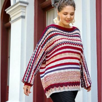 Umgee Long Sleeve Multi-color Crochet Sweater