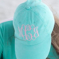 Monogrammed hats, Monogrammed pigment dyed Hats, Initial Hats, Embroidered Hat, Personalized gift, monogrammed gifts teen and women,