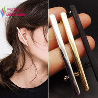 1PC New Fashion Punk Designer Gold Silver Black Plain Stick Cross Ear Cuff Earrings for Women brinco de meninas
