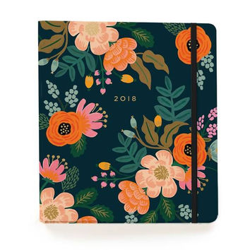 2018 17-Month Covered Spiral Bound Planner - Lively Floral