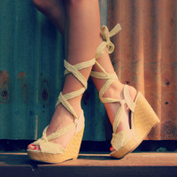 Beige Lace Up Wedge*FINAL SALE!*