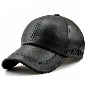 Snapback Faux Leather Hat Leather Cute, Graphic, Cool Baseball Cap