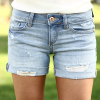 Headed Out Distressed Jeans Shorts