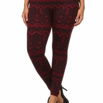 QS Burgundy Abstract Fur Lined leggings