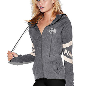 Stretch Fleece High/Low Hoodie - PINK - Victoria's Secret
