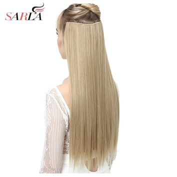 "SARLA 24"" 60cm Long Straight 3/4 Full Head One Piece Clip In Hair Extensions For Women High Temperature Synthetic Hairpieces 666"