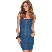 Casual O-neck Jeans Dress Summer Mini Short Dresses Vintage Denim Tank Dress Elegant Backless Dresses Sexy Bodycon Club Vestidos