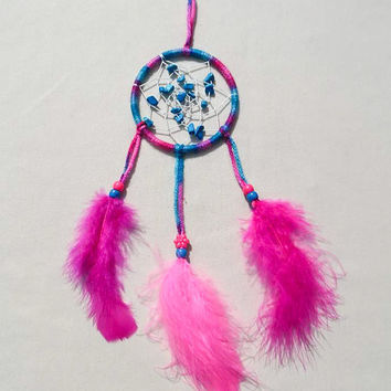 Pink and blue multicolor 3.5 inch dreamcatcher with turquoise dyed chips