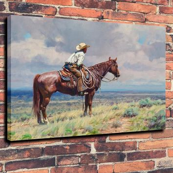 Figure Oil Painting  Western, Cowboy, West Texas Home Art Print on Canvas Home Decor 16X20 Unframed