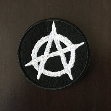 "ANARCHY PATCH - Embroideed Iron On Patch - 3"" - Revolution Punk Disorder Anarchist"