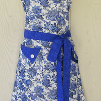 Blue Floral Apron , Retro Style Apron, Full Apron , Wedgewood Blue , Cobalt Blue Apron, Flowers , KitschNStyle