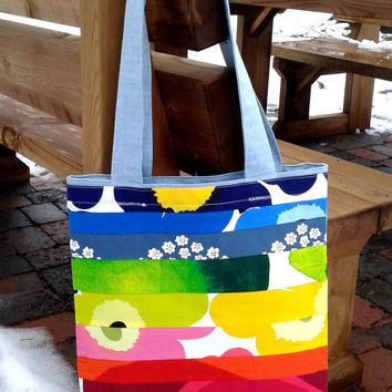 Marimekko Tote bag, Medium shopping bag, Laptop bag, School bag, Book tote bag, Grocery bag, Travel tote, Marimekko fabric, Rainbow colors