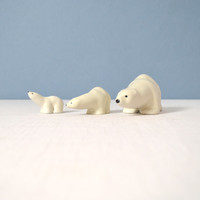 Arabia Finland Porcelain Polar Bear Trio by Richard Lindh