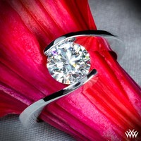 "18k White Gold ""Lilly"" Solitaire Engagement Ring"
