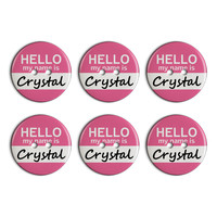 Crystal Hello My Name Is Plastic Resin Button Set of 6