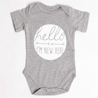 """Hello I'm New Here"" Onesuit (2 Colors Available)"