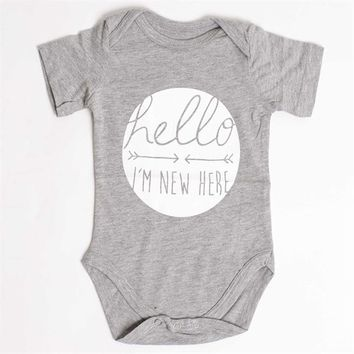 """""""Hello I'm New Here"""" Onesuit (2 Colors Available)"""