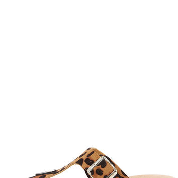 Wildly Amused Leopard Print Wedge Sandals