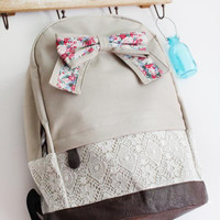 Fashion Light Cream Floral with Bow Lace Backpack