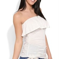 Strapless Flutter Top with Ruched Sides