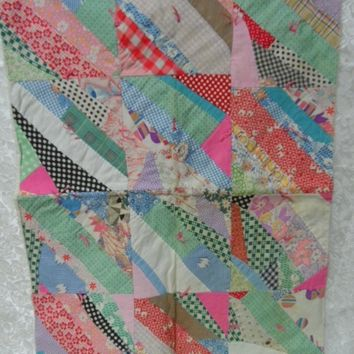 Vintage Patchwork Quilt with Flour Sack Back, Pillow Size